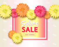 Spring sale background with flowers. Season discount banner. Vector illustration ,template. Wallpaper, flyers Stock Photo