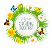 Spring Sale Background With A Green Grass and flowers Royalty Free Stock Images