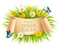 Spring Sale Background With A Green Grass and flowers Stock Photography
