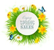 Spring Sale Background With A Green Grass and flowers. Stock Photos