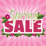 Spring sale background with green leaves and flowers Stock Images
