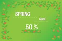 Spring sale  background with leaves Stock Photo