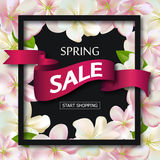 Spring sale background with ribbon and flowers. Season discount banner design with cherry blossoms and petals. Vector Royalty Free Stock Photos