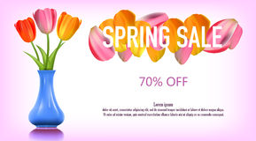 Spring sale banner against petals Stock Image