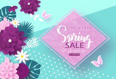 Spring sale banner.Background with blossom flowers, butterflies and tropical leaves. Vector illustration for posters. Coupons, promotional material royalty free illustration