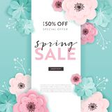 Spring Sale Banner Background with Paper Cut Flowers. Spring Discount Voucher Template, Brochure, Poster, Advertising Promotion stock illustration