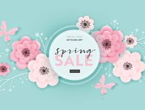 Spring Sale Banner Background with Paper Cut Flowers and Floral Elements. Spring Discount Voucher Template, Brochure, Poster. Advertising Promotion. Vector stock illustration