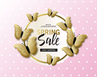 Spring sale banner background template with beautiful golden butterflies. Vector illustration. Spring sale banner background template with beautiful golden Stock Photo