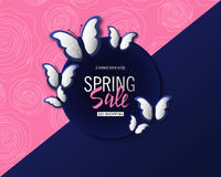 Spring sale banner background template with beautiful silver butterflies. Vector illustration. Spring sale banner background template with beautiful silver Royalty Free Stock Photo