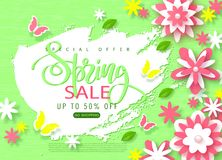 Spring sale banner. Beautiful Background with paper flowers and butterflies. Vector illustration for website , posters. Email and newsletter designs, ads Stock Illustration