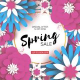 Spring Sale banner. Beautiful colorful paper cut flower. Happy Women`s Day. 8 March. Mother`s day. Text. Seasonal. Holiday on sky blue. Traditional paper Stock Photography