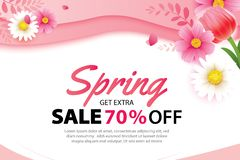 Spring sale banner with blooming flowers background template. Design for advertising, flyers, posters, brochure, invitation,. Voucher discount stock illustration