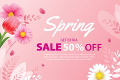 Spring sale banner with blooming flowers background template. Design for advertising, flyers, posters, brochure, invitation,. Voucher discount vector illustration