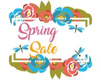 Spring Sale banner with blue and red flowers Stock Images