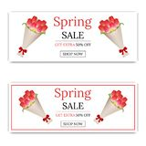 Spring Sale Banner with Bouquet of Tulips. Bouquet of Red Tulips in Paper with Red Bow. Voucher, flyers, posters. Vector. vector illustration