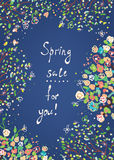 Spring sale banner or card with flowers Stock Photography