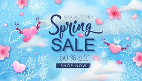 Spring sale banner with cherry blossoms, flowers. Spring sale banner with cherry blossoms, sakura, flowers, blue sky, hand drawn floral design elements, pink vector illustration