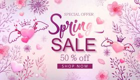 Spring sale banner with cherry blossoms, flowers. Spring sale banner with cherry blossoms, sakura, flowers, watercolor wash, hand drawn floral design elements royalty free illustration