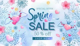Spring sale banner with cherry blossoms, flowers Royalty Free Stock Photo