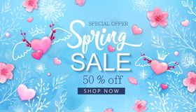 Spring sale banner with cherry blossoms, flowers Royalty Free Stock Photos