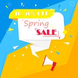 Spring sale. Banner on a colorful background. Yellow, blue, red, white are interwoven with each other. Cool idea and suggestion vector illustration
