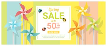 Spring sale banner with colorful pinwheels. Vector , illustration Royalty Free Stock Images