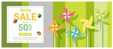 Spring sale banner with colorful pinwheels. Vector , illustration Stock Photo