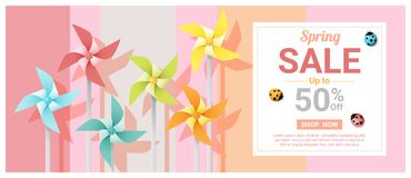 Spring sale banner with colorful pinwheels. Vector , illustration Stock Photography