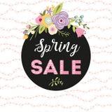 Spring Sale Banner cute floral wreath bouquet black round shape Vector Design Spring flower. Spring Sale Banner Pink white text into black round shape Cute leaf vector illustration