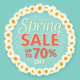 Spring sale banner with daisy chain and text on vintage blue background. Spring sale banner with daisy chain and text up to 70 percent off on vintage blue Stock Images