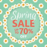 Spring sale banner with daisy chain and text on vintage blue background. Spring sale banner with daisy chain and text up to 70 percent off on vintage green Stock Photo