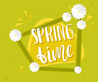Spring sale banner design in green background with flowers and leaves drawings for seasonal marketing promotion. Spring time, Vect. Or illustration Royalty Free Stock Photography