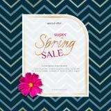 Spring sale banner on elegant dark luxury background of golden zigzag lines and chamomile flower Banner design element royalty free illustration