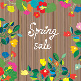 Spring sale banner, floral design on the wooden texture Stock Photos