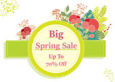 Spring sale banner,with flower and plant decoration. Spring sale banner,decorated with red flowers and plants Stock Photo