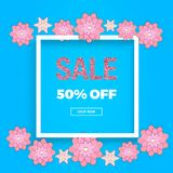 Spring sale banner with flowers, pink glitter texture on the blue background. Template for online shopping, designs, poster, invit. Ation, party, birthday Stock Illustration