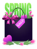 Spring sale banner with gift bag Stock Photos