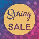 Spring Sale banner in a gold circle with beautiful background Royalty Free Stock Images