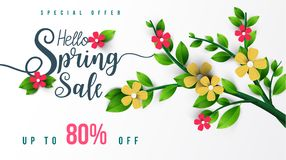 Spring Sale Banner with flowers, leaf and colorful background. stock images