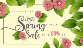 Spring Sale Banner with flowers, leaf and colorful background. stock photo