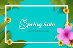 Spring Sale Banner with green leaf and colorful background. Vector Design for your greetings card, flyers, web banner , invitation, posters, brochure, banners vector illustration