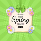 Spring sale banner. Green ribbon with a bow. Paper square label. Multicolored flowers of chamomile. Special offer. Vector illustra. Tion. EPS 10 stock illustration