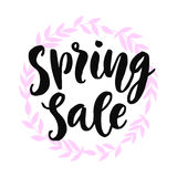 Spring Sale Banner. With hand drawn modern calligraphy and herbal wreath decoration, retro style, isolated on white Stock Image