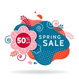 Spring sale banner, invitation poster, colorful advertising flyer. Colorful spring sale banner, invitation poster, colorful advertising flyer with flower and stock illustration
