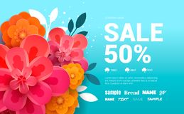 Spring Sale Banner with colorful flowers amd leaves. Vector Design for flyers, banners or posters royalty free stock photos