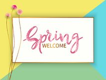 Spring sale banner. Lettering Spring Welcome.Sale banner template with small flowers on colorful geometric background. Vector illustration Royalty Free Stock Photography