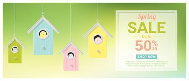 Spring sale banner with little birds in colorful birdhouses Stock Images