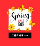 Spring sale banner for online marketing. Calligraphy lettering typography, abstract flowers and butterflies. Vector. Illustration. EPS 10 Stock Photos