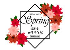 Spring sale banner paper flower on colorful background. Spring sale banner template with paper flower on colorful background. Vector illustration Royalty Free Stock Photos