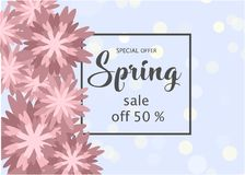 Spring sale banner paper flower on colorful background. Spring sale banner template with paper flower on colorful background. Vector illustration Royalty Free Stock Photo